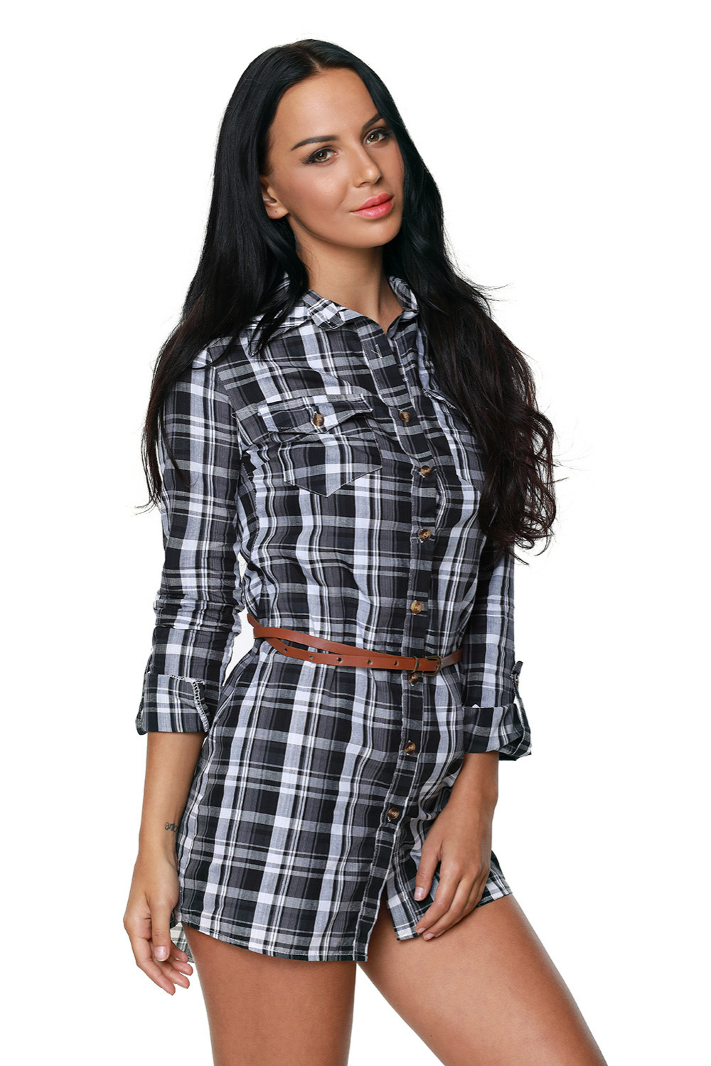 casual Woman s Clothes spring autumn long sleeves t shirt style Fashion Loose Black White Plaid