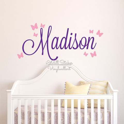 product Girls Name Wall Sticker Baby Nursery Name Butterfly Wall Decal Personalized Name Stickers For Kids Room Cut Vinyl Stickers C14