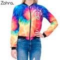 Zohra 2016 otoño invierno mujeres chaqueta de bombardero de colores del arco iris 3d impreso moda sexy short jacket coats outwear chaquetas básicas