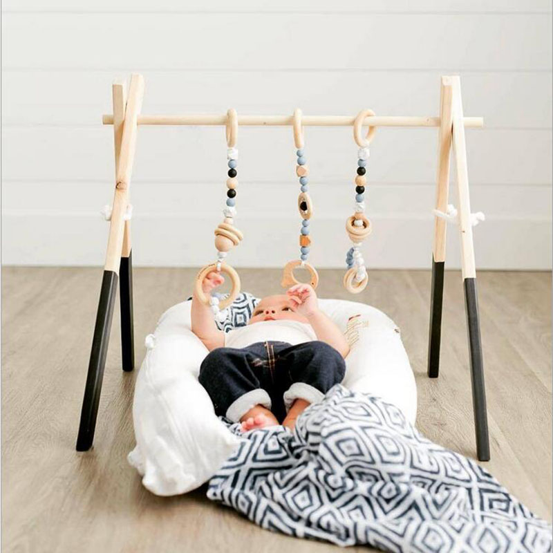 Baby Play Gym Kids Wooden Educational Nursery Sensory Ring-pull Toy Infant Clothes Rack Accessories Room Decor Photography Props