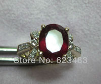 Rings Natural Diamond Solid 14kt Yellow Gold Red Blood Ruby Engagament
