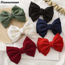 Vintage Linen Barrettes 2 Level Big Large Bow Hair Clip Korean Spring Ponytail Hairgrips For Women Fashion Accessories