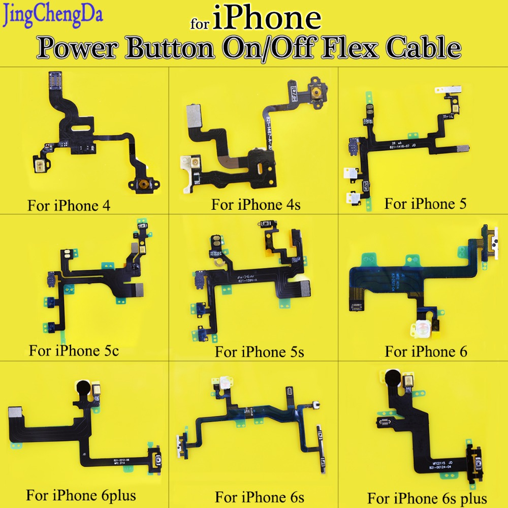 JCD For Iphone 4 4s 5S 5C 6 6s 6s Plus Power Button Flex Cable Ribbon Light Sensor Power Switch On / Off Replacement