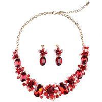 Colorful Plant Flowers Jewelry Sets For Women Safety Pins Earrings Full Crystal Necklace 45 8cm Length