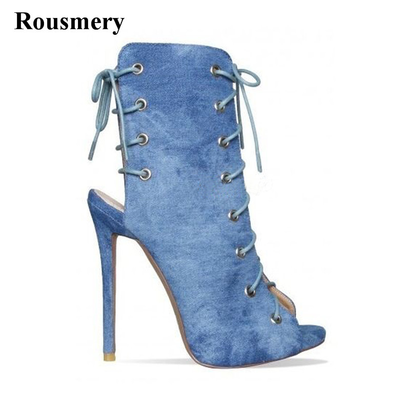 New Design Women Fashion Open Toe Lace-up Ankle Gladiator Boots Cut-out Denim High Heel Short Boots Thin Heel Dress Shoes цена 2017