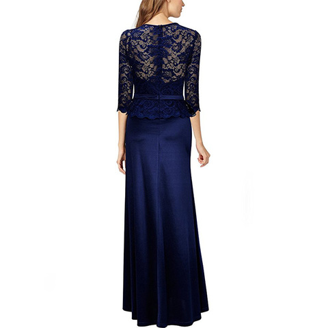 2019 New Arrival Navy Blue Mother Of Bride Dress Half Sleeves Illusion Lace Formal Party Dress Long vestido de madre de la novia Lahore