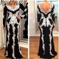 Blanco Negro Dubai Vestido de Las Mujeres Vestidos de Noche del V-cuello de la Sirena Más El Tamaño de Manga Larga Vestidos de Noche Vestido Formal Abendkleider 2017