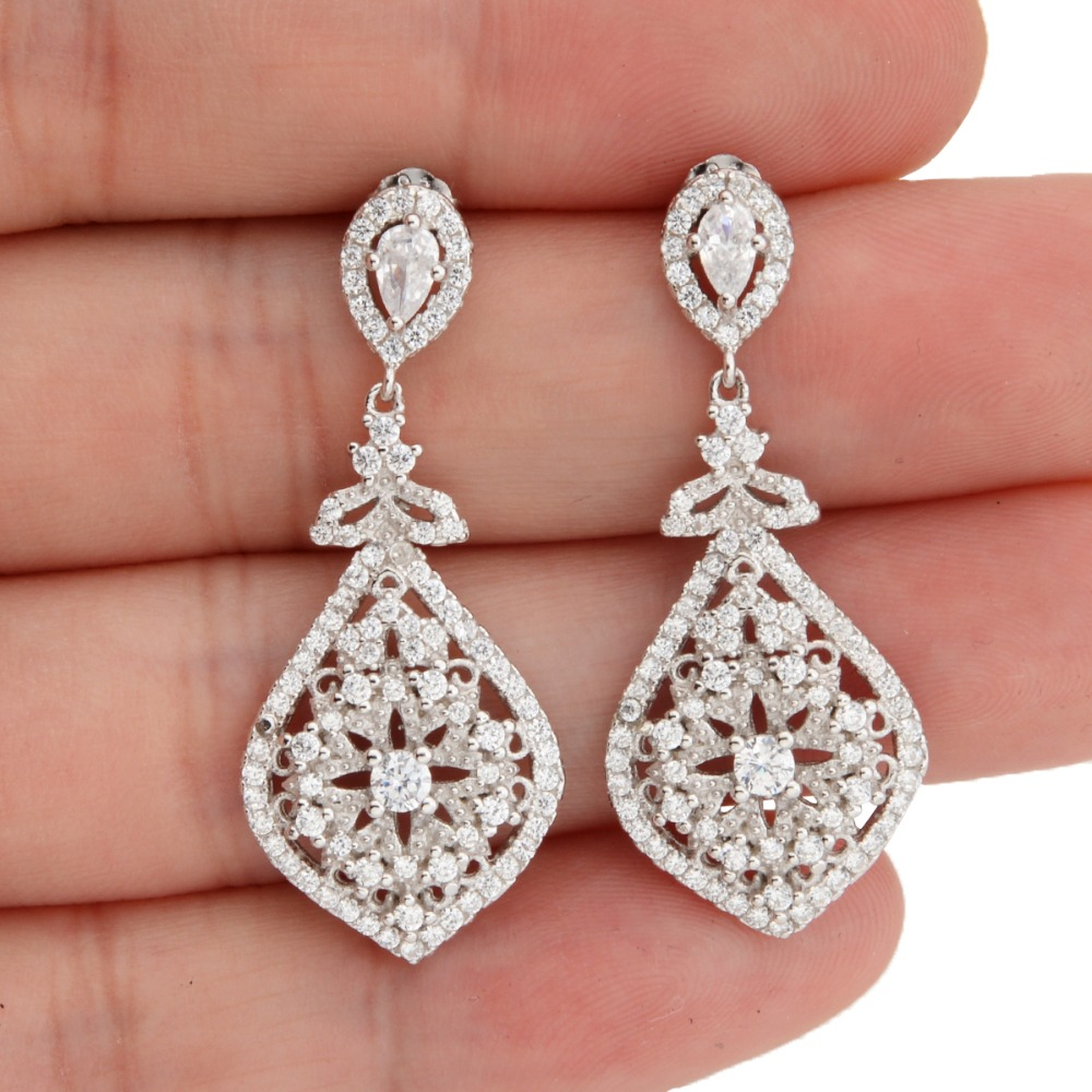 BELLA Fashion 925 Sterling Silver Tear Drop Bridal Earrings Cubic Zircon Dangle Earrings For Wedding Bridesmaid Party Jewelry