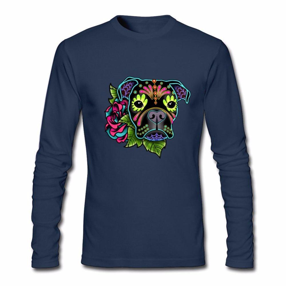 Custom Work Tshirts Men Boxer In Black Day Of The Dead Sugar Skull Dog Long Sleeve Tees Shirt T Shirts