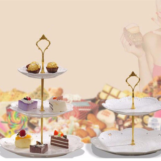 1 Set 2 or 3 Tier Crown Wedding Party Birthday Cake Plate Stand Gold ...