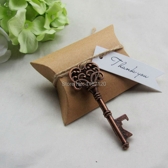 200sets Kraft Paper Pillow Box Thank You Gift Tags Copper Skeleton Key Bottle Openers Wedding Party
