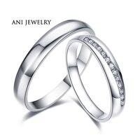 ANI 18 К из белого золота (AU750) обручение Кольцо Настоящее сертифицированных I J/SI 0,132 КТ круглой огранки обручальное пару кольцо для влюбленных