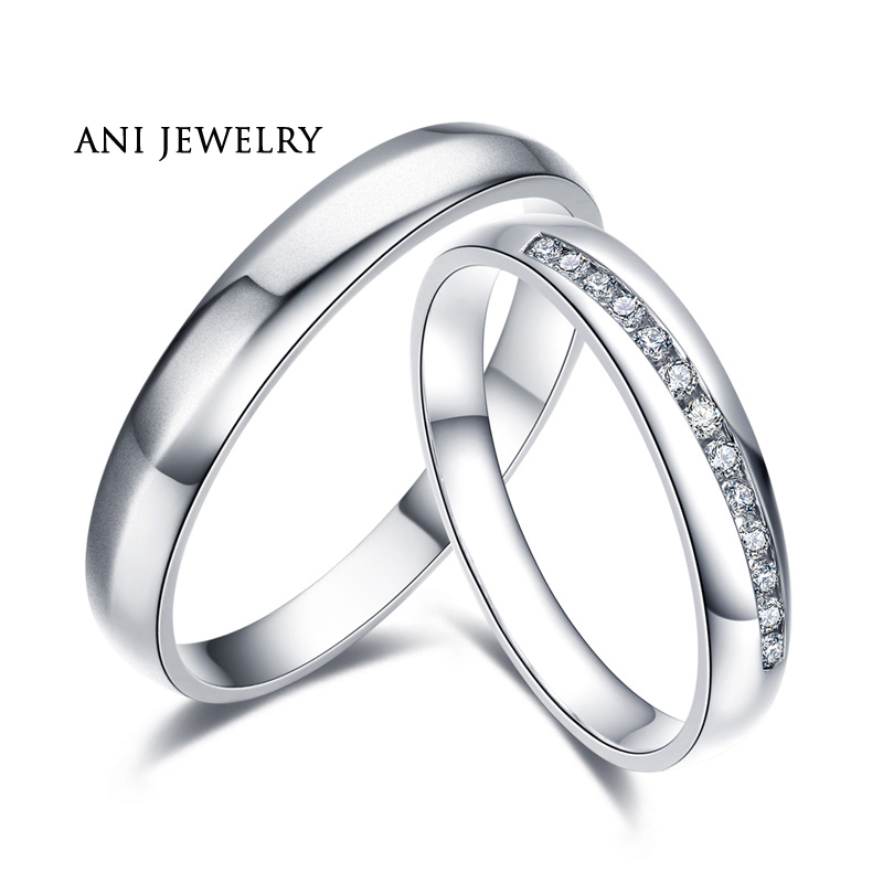 ANI 18K White Gold (AU750) Engagement Ring Real Certified I-J/SI 0.132 CT Round Cut Diamond Wedding Band Couple Ring for Lover