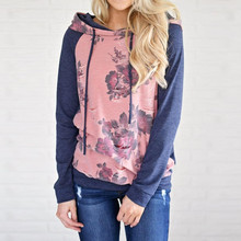 High Quality Womens Long Sleeve Floral Print Hoodie Sweatshirt Autumn Winter Pullover Hoodies With Hat Tops Blusa Womens Clothes