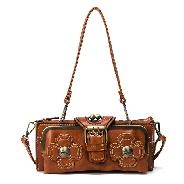 Evening Clutch Bags Leather Flower Clip Bag Steampunk Party Clutches Women's Shoulder Bags Purses And Handbags Black Brown Red