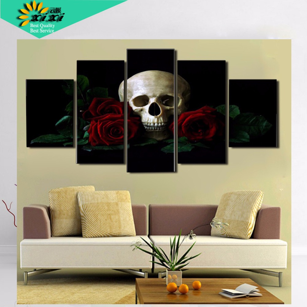 Printed Rose Skull Picture Canvas Painting Modern