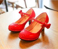2017 Summer Kids Girls High Heeled Increase Sandlas Children Casual Shoes Girls PU Princess Bow Shoes