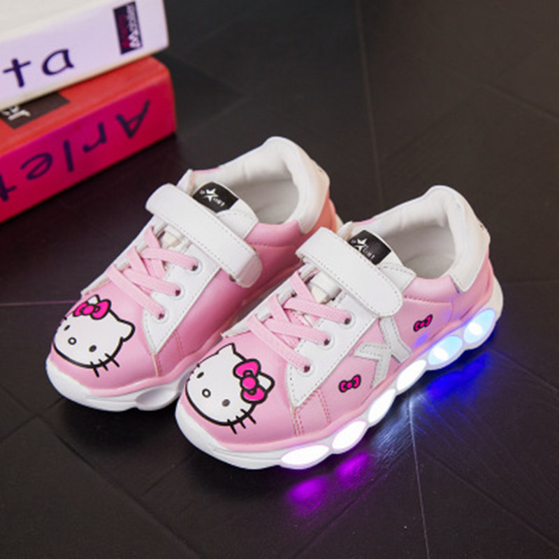 ФОТО 2017 New Cute Leather Girls Hello Kitty Casual Shoes Children USB Rechargeable LED Lamp Sneakers Boys Pink Black 13.5-15.6 cm