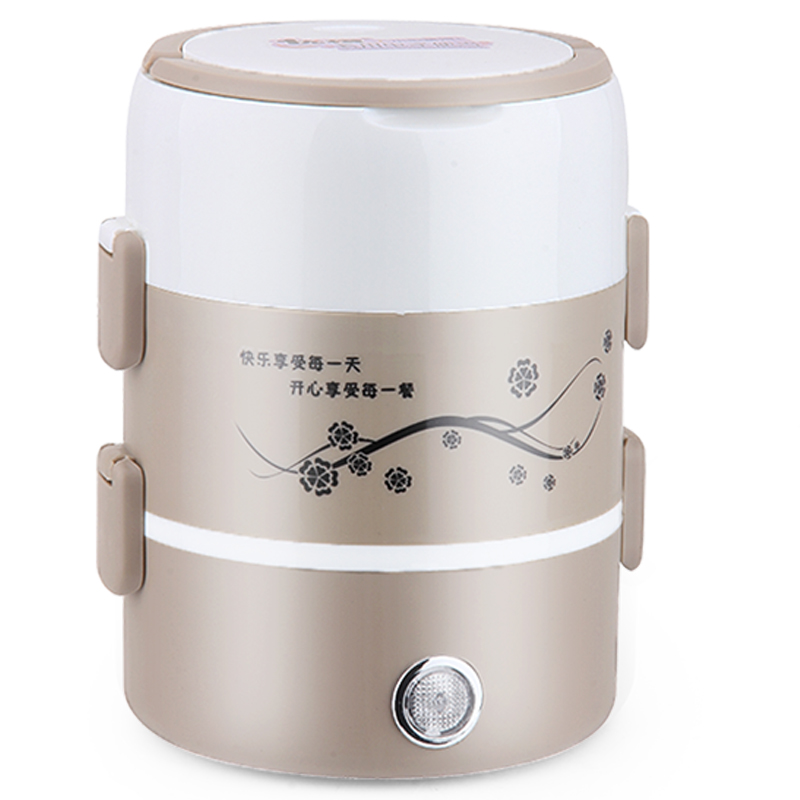 Electric Lunchbox Rice Cooker Three Layers Plug In Heating Insulation Cooking Lunch Box 2.0L Seal 1-2 People цена и фото