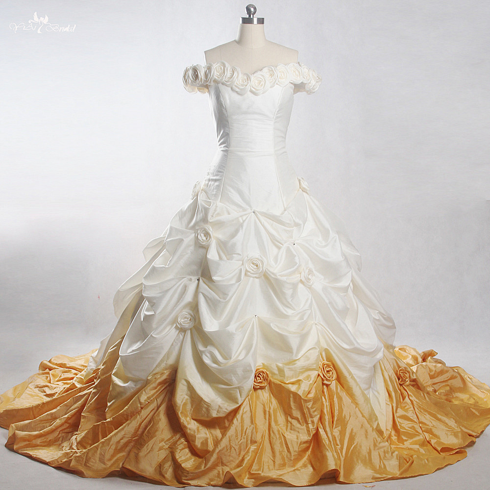 RSW994 Yiaibridal Real Job Photos Gradient Colored Taffeta Pick Up Skirt Ball Gown Off Shoulder