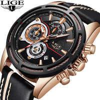 LIGE nuevos relojes para hombre, reloj de cuarzo de lujo de marca, reloj de pulsera deportivo de cuero militar a prueba de agua, reloj de pulsera para hombre