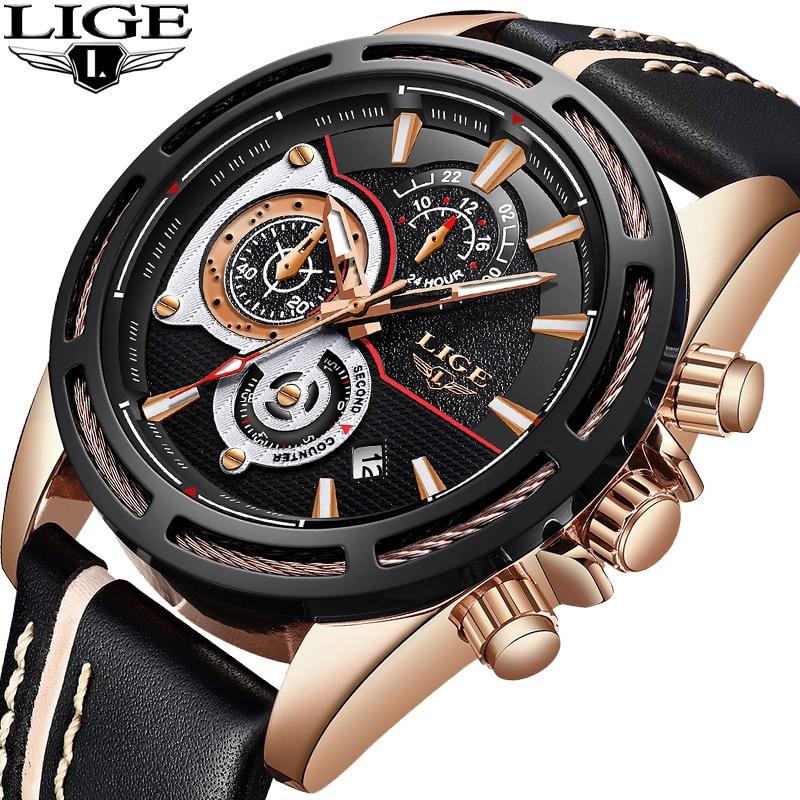 Nuevos relojes LIGE para hombre, reloj de cuarzo de lujo de marca superior, reloj de pulsera deportivo militar de cuero, resistente al agua, reloj Masculino