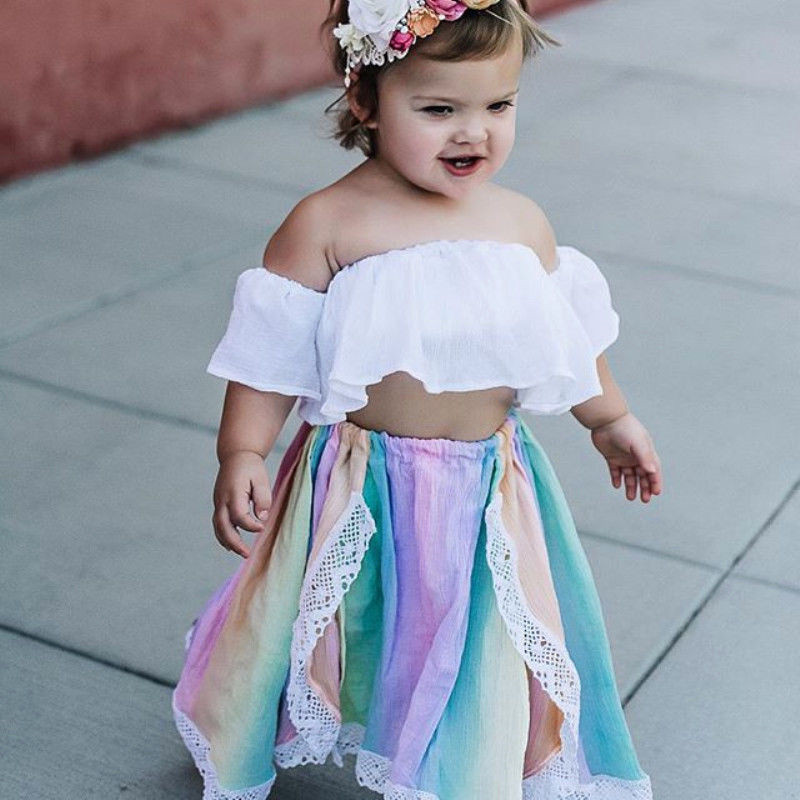 Toddler Baby Girls Off Shoulder Tops+Long Skirt Headband Set Outfits Clothes