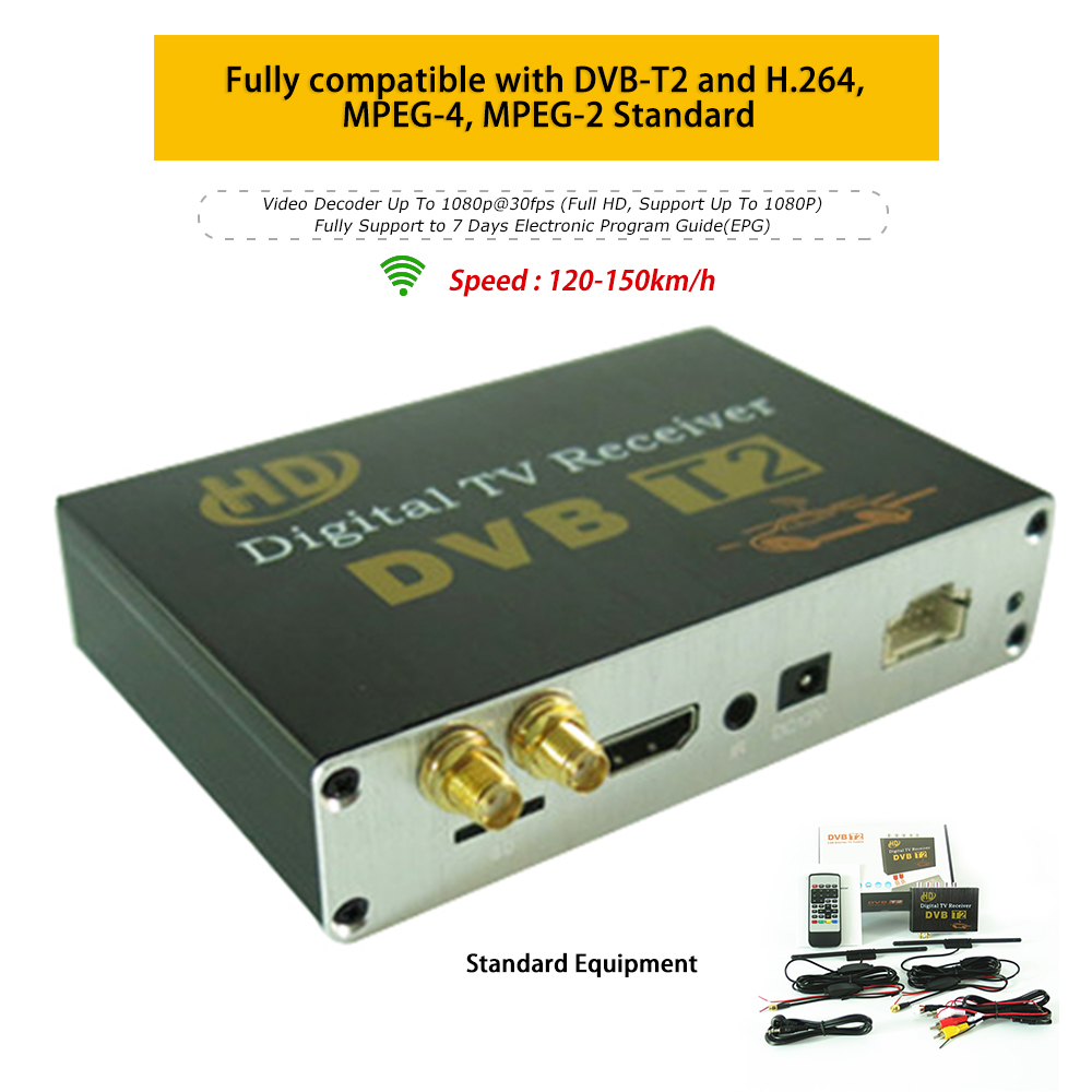 80~120 KM/H Dual Antenna Car Digital TV Turner DVB-T2 Mobile Digital TV Receiver for Russia Indonesia India TV Receiver for Car dhl ems 1pcs for fanuc a06b 0061 b103