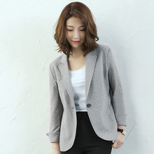 Blazers Women Suit Knitted Fabric Simple Design Long Sleeves Single Button Ladies Work Office Clothing  New Fashion