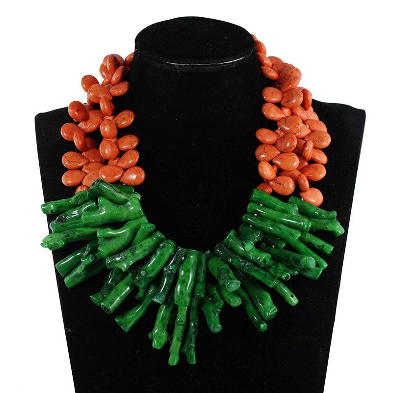 Модные gorthic зеленый Коралл бисера кулон свадебные Цепочки и ожерелья оранжевый камень Бусины Цепочки и ожерелья для Для женщин cnr596
