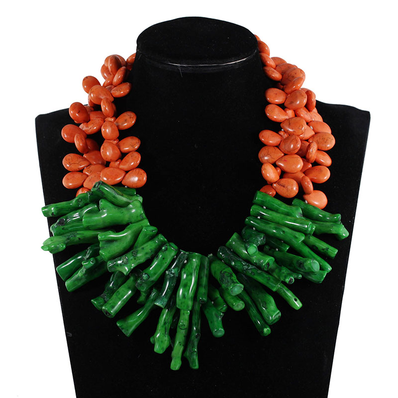Fashion Gorthic Green Coral Bead Pendant Wedding Necklace Orange Stone Beads Necklace for Women CNR596 dandie fashionable necklace with orange acrylic bead elegant weave braid bead necklace jewelry for women