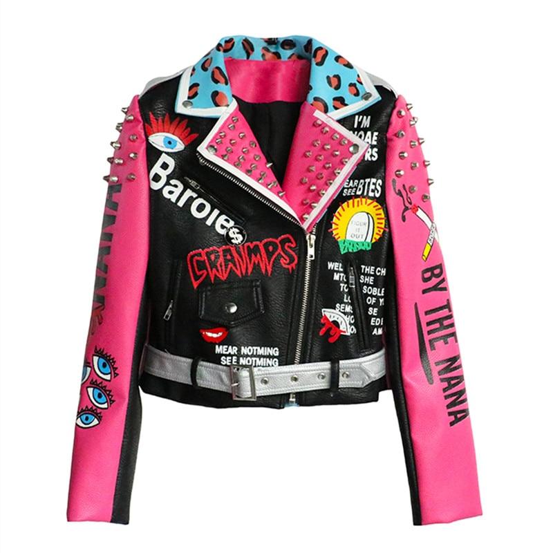 Kadın Giyim'ten Basic Ceketler'de Deri Ceket Uzun Kollu Motosiklet Ceket Perçin PU Deri Ceket Yeni Moda Dış Giyim Kadın Ince Temel Streetwear'da  Grup 1