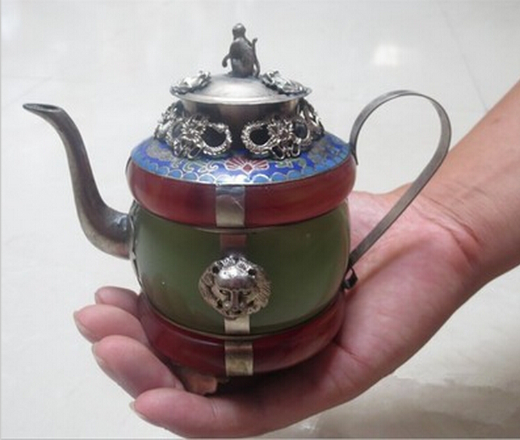 design silver Superb handmade Chinese green and red jade tea pot silver flagon shipping tools wedding Decoration Brass