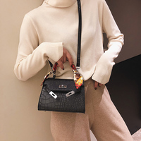 FuAhaLu Fashion solid with scarves Alligator Messenger bags for women Lock shoulder bags Pu HOT five clours