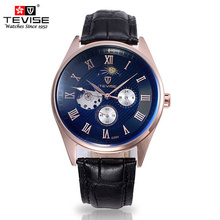 Fully-automatic Mechanical Relógio Marca de Moda dos homens de Aço Dial Black Leather Strap 30 Metros À Prova D' Água MenS Relógio B030