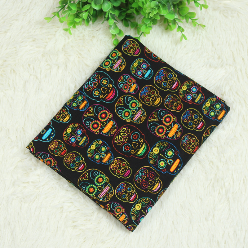 hot sale skull printed fabrics plain weave fabric cotton