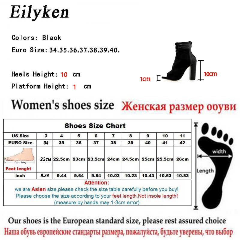 Eilyken Kadın Çizmeler Sandalet Gladyatör Yüksek Topuklu Kadınlar Seksi Peep Toe Çapraz bağlı Ayakkabı Pompaları Dantel-up Kadın yarım çizmeler boyutu 40