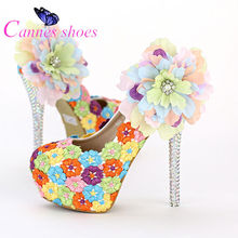 Aesthetic multicolour lace flower ultra high heels wedding shoes shallow mouth round toe formal dress shoes platform thin heels