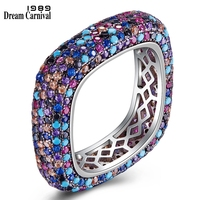 DreamCarnival 1989 Brand New Square Shape Luxury Fashionable Rings for Women Multi Colors CZ Paved Must Have Wholesale SJ33134RB