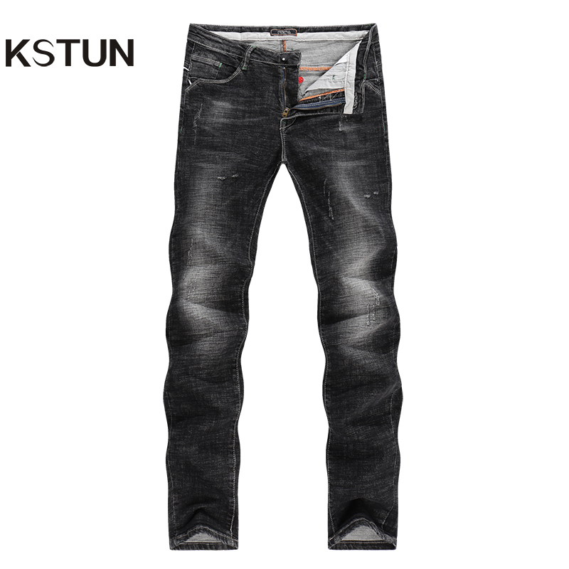 KSTUN Jeans Men Black High Elasticity Denim Pants Casual Trousers Thick Slim Leg Skinny Pockets Designer Male Clothes for Men 38 grey 2015 spring male personality splice skinny pants the trend straight trousers slim long trousers thin men skinny jeans