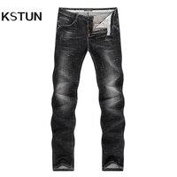 KSTUN Jeans Men Black High Elasticity Denim Pants Casual Trousers Thick Slim Leg Skinny Pockets Designer