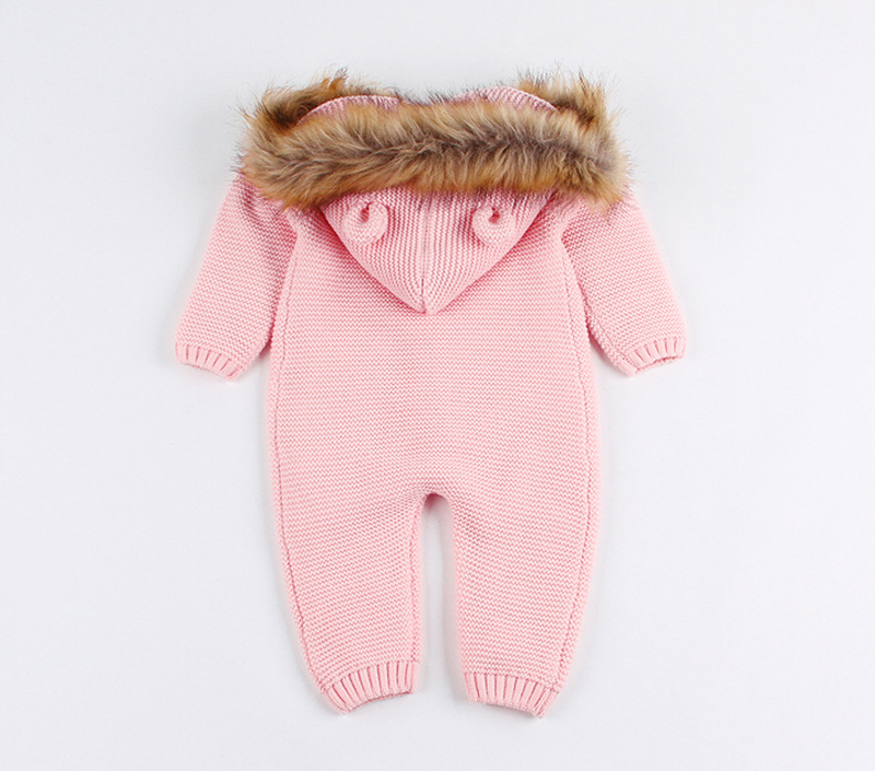 ee307a5ed09 IYEAL Newest Infant Baby Rompers Winter Clothes Newborn Baby Boy Girl  Knitted Sweater Jumpsuit Hooded Fur Kid Toddler Outerwear