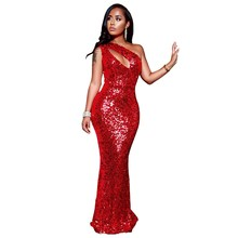 Female Nightclub Party Sexy Dress Women Sparkle Sequin Dazzling One-Shoulder Elegant Mermaid Long Dresses Vestidos