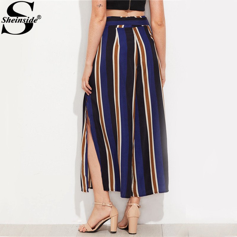 ac9a95b758 Sheinside Navy Split Side Cropped Wide Leg Pants 2017 Autumn Elegant High  Waist Women Striped Pants Zipper Bow Tie Loose Pants-in Pants & Capris from  ...