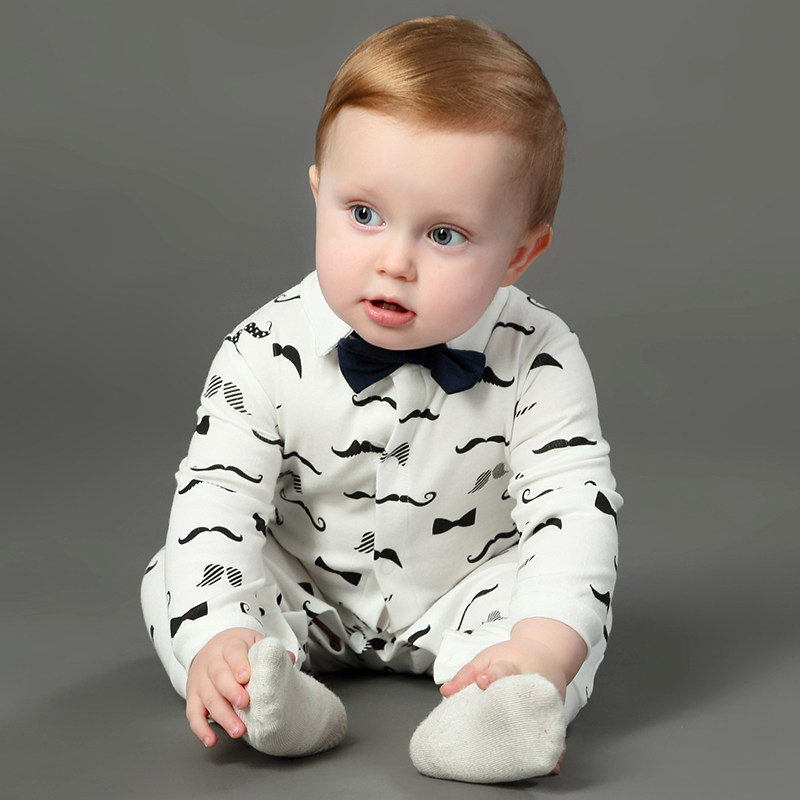 Newborn Baby Boy Rompers 100% Cotton Tie Gentleman Suit Bow Leisure Body Suit Clothing Toddler Jumpsuit Baby Boys Brand Clothes baby rompers o neck 100