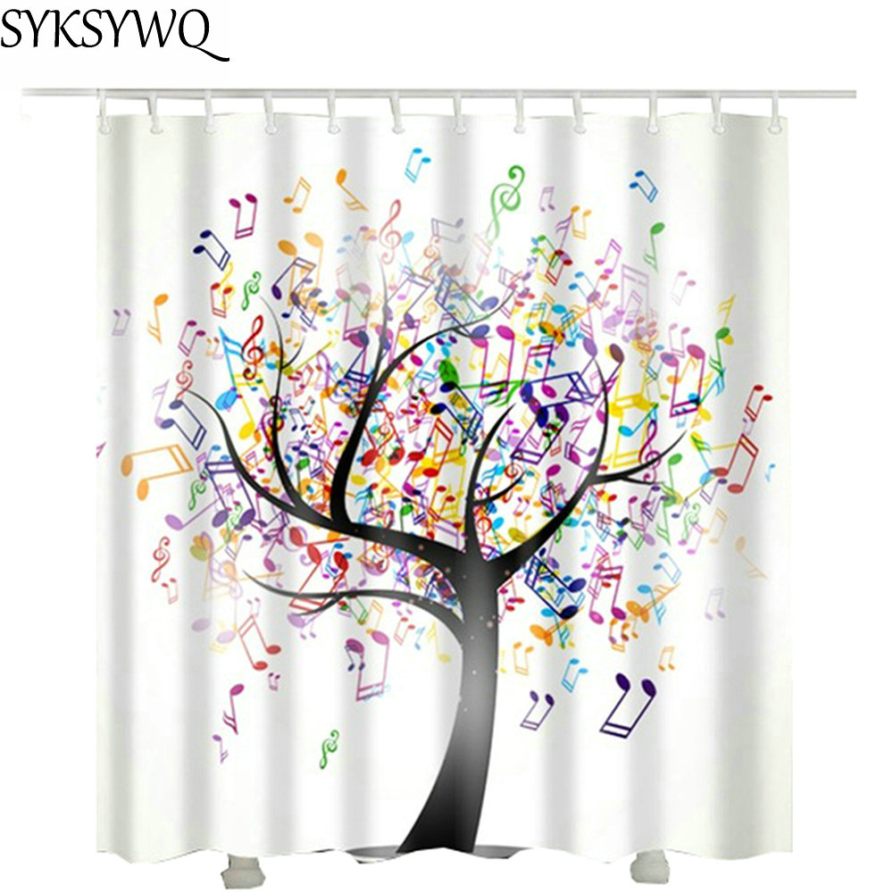 Music Tree Shower Curtain Waterproof 2018 Drop Shipping Cheap Wholesale Note Bathroom Fabric In Curtains From Home