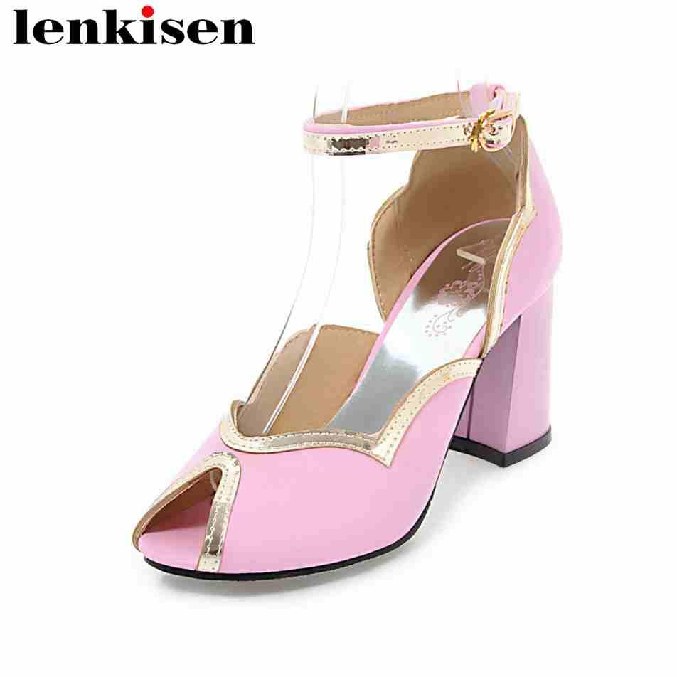 Lenkisen 2018 large size PU peep toe career mature classic shoes women buckle straps high heels european style women sandals L29