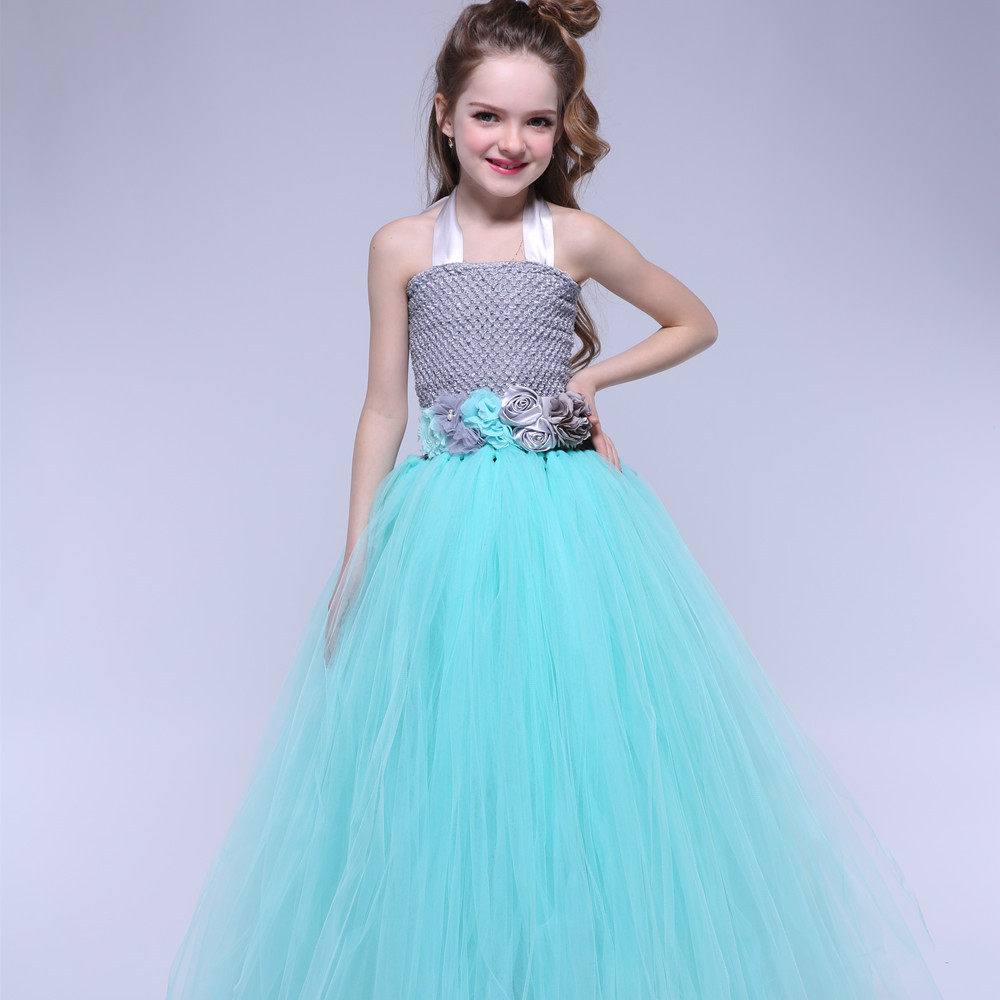 Turquoise Birthday Party Tutu Dress Kids Girls Princess Tulle Flower ...