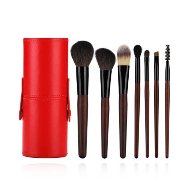 ef9ff05bb10a US $13.84 30% OFF BBL 7pcs Rose wood Professional Makeup Brushes Set + PU  Holder Premium Goat Hair Kabuki Powder Blush Blending Brush Maquiagem-in  Eye ...
