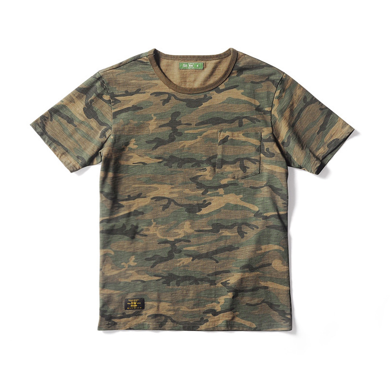 Summer 250g Camouflage Pocket Tee Shirt Men's Jungle Camo Short Sleeve T-Shirts 100% Cotton Vintage Military Tee Tops For Men